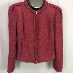 CAbi Blazer Jacket Size 4 Burgundy Womens Zip Fron